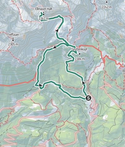 Karte / Ellmauer Halt 2344 m, der Höchste im Wilden Kaisers