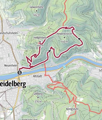 Karte / Heidelberg-Philosophenweg-Thingstätte