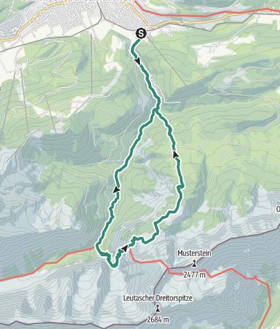 Karte / Garmisch Partenkirchen - Partnachklamm - Reintal - Schachen - Schachenhaus - Kälbersteig