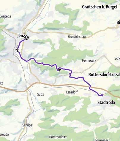 Karte / Sonntagslauf 06.11.2011 ab Jena über Sommerlinde, Rabis, Podelsatz nach Stadtroda)