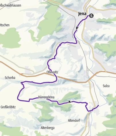 Karte / 26.02.12 Lauf über Oßmaritz, Leutratal, Zimmritz, Bastei nach Rothenstein
