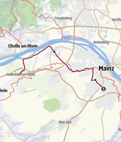 Karte / 4 Tageswanderung, 1.Etappe Mainz-Heidesheim