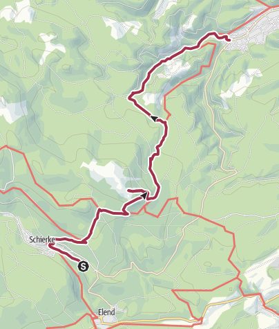 Karte / Von Schierke über die Steinerne Renne nach Hasserode