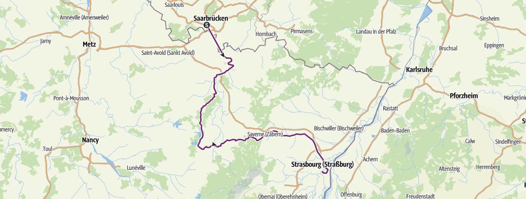 Cartina / Tour Saarbrücken-Strasbourg