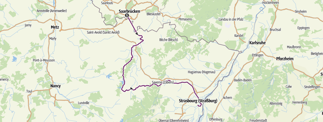 Carte / Tour Saarbrücken-Strasbourg