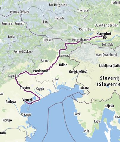 Karte / Klagenfurt - Venedig