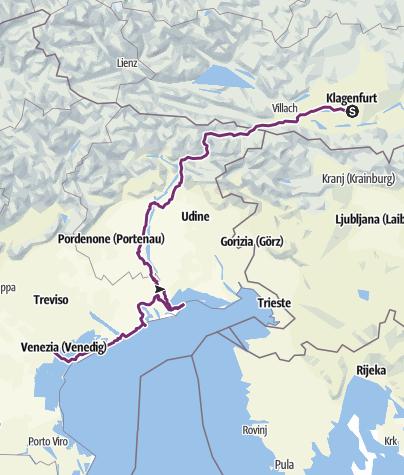 Karte / Klagenfurt - Mare - Venezia