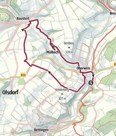 Karte / Rundweg Bitburger Land Oberweis-Baustert-Oberweis