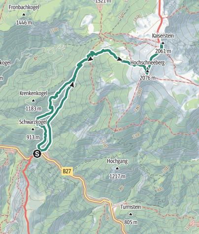 Map / Hochschneeberg 2076 m mit Weichtalklamm-Klettersteig in N.Ö.