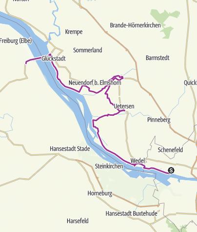 Karte / Elbe - Radweg Tag 3 Blankenese - Wischhafen