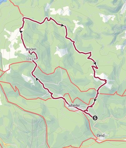 Karte / Brockenüberschreitung mit Hohneklippen ab Schierke
