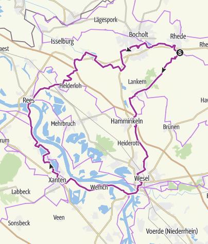 Karte / Krechting Wesel Xanten Rees Bocholt