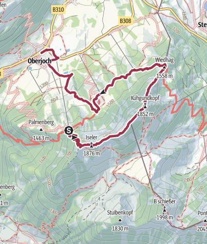 Karte / Iseler - Kühgundrücken - Wiedhag-Alpe in Oberjoch