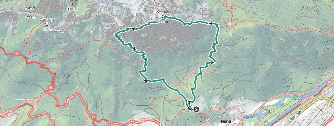 Kartta / Über den Hochstaufen