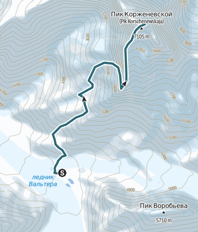 Mapa / Pik Korzhenevskoy 7105m, Expedition