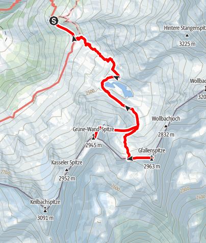 Karte / Von der Kasseler Hütte über das Keilbachjoch zur Gfallenspitze (2966 m) oder Grüne Wand (2946 m)