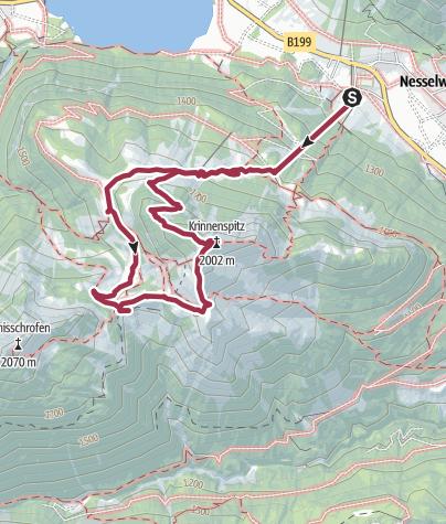 Karte / 3 Hütten Tour (Krinnenalpe-Nesselwängler Edenalpe-Gräner Ödenalpe-Krinnenspitze)