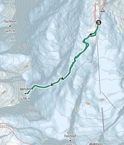 Karte / Bergtour zum Alphubel