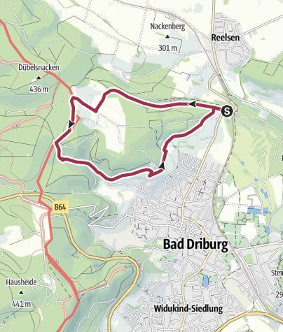 Kartta / Bad Driburg Rundwanderweg  A2  Reelserkreuz-Knochen-Egge-Krankenhaus