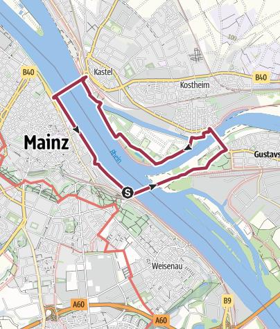 Karte / Drei Brücken Weg in Mainz