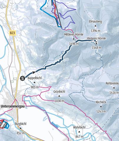 Karte / Skitour zur Hörnlehütte in den Ammergauer Alpen