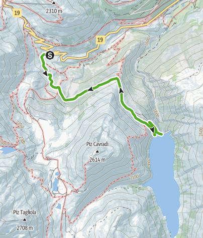 Karte / Mit Kinderwagen zum Stausee Curnera