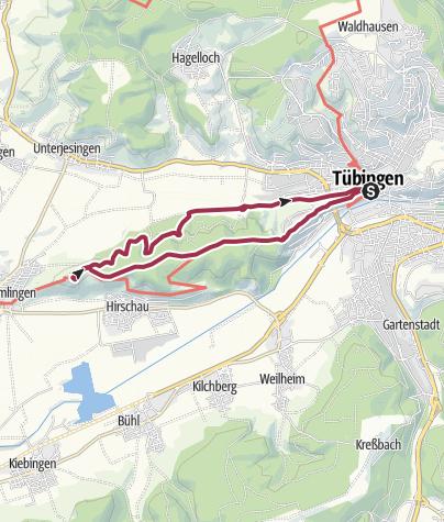 Karte / Von Tübingen zur Wurmlinger Kapelle und zurück über den Schwärzlocher Hof