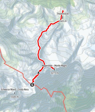 Karte / Rieserferner-Durchquerung - Etappe 2: Rieserfernerhütte - Schneebiger Nock - Kasselerhütte