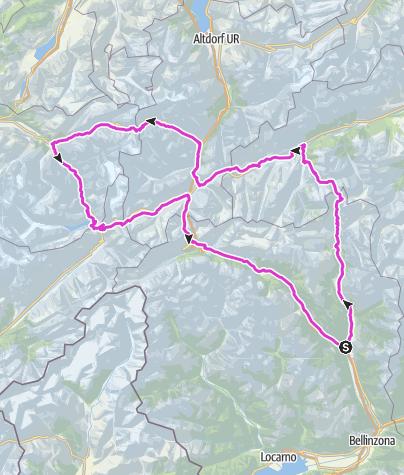 Hartă / 6 Pässe: Lukmanier, Oberalp, Susten, Grimsel, Furka, Gotthard