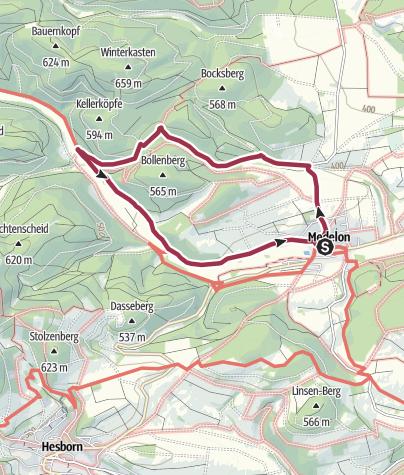 Karte / Von Medelon um den Bollenberg