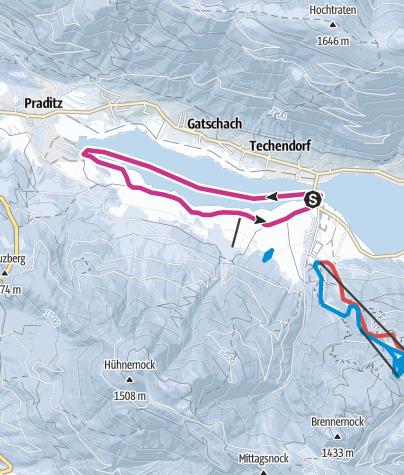 Karte / Weissensee über Schnee und Eis