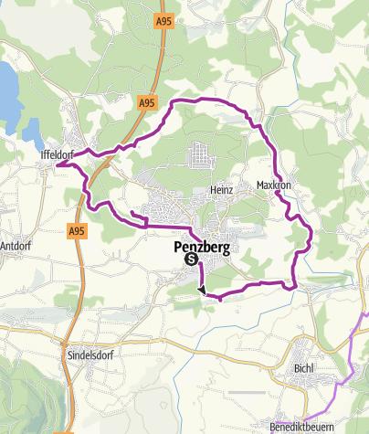 Karte / Kapellen- und Panoramatour um Penzberg