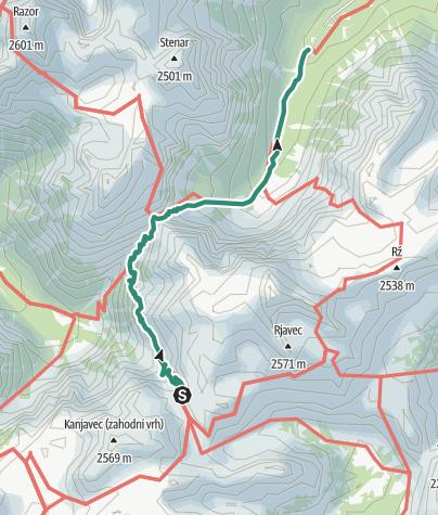 Karte / Abstieg von  Koča na Doliču über Luknjo ins Vratatal