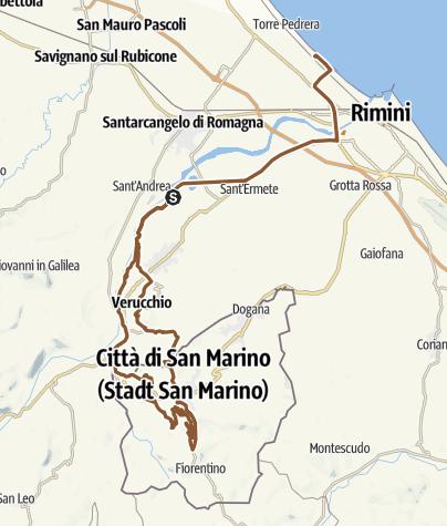 Karte / Mit dem Mountainbike von Rimini nach San Marino