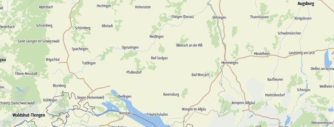Karte / Stadtrundgänge in Oberschwaben - Allgäu