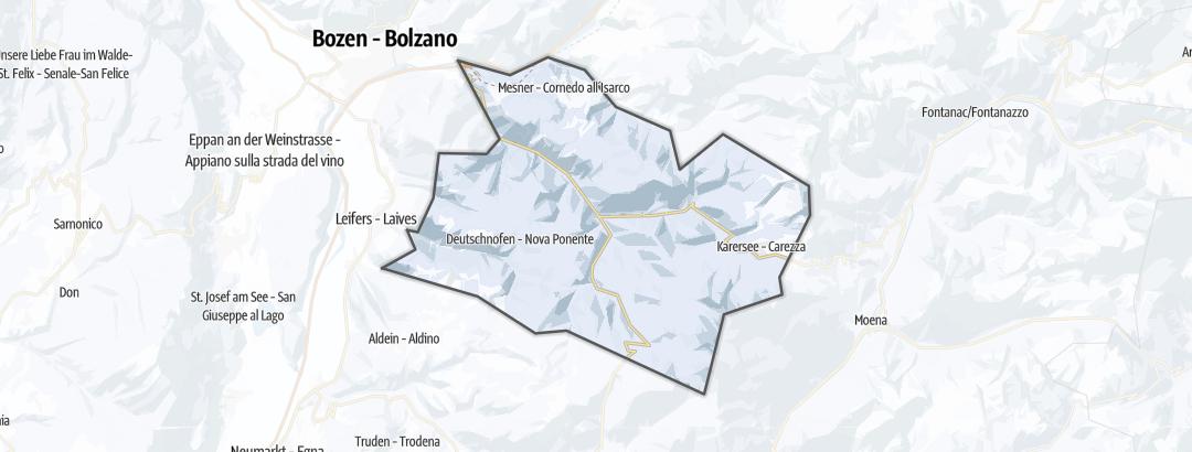 מפה / מסלולי מזחלות שלג בגן הורדים בדולמיטים