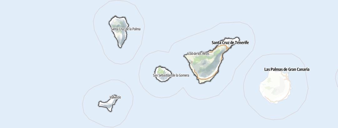 Mapa / Trilhas de caminhada em Santa Cruz de Tenerife