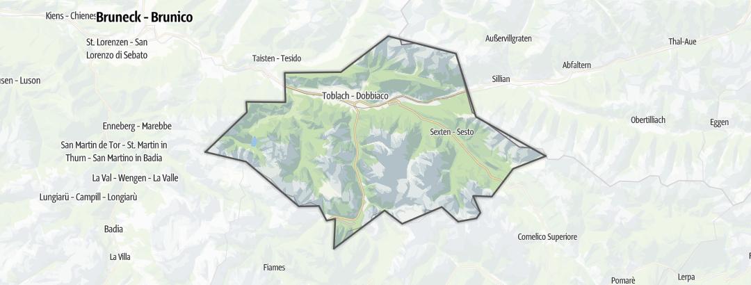 Mapa / Cesty pro alpské lezení v oblasti Hochpustertal