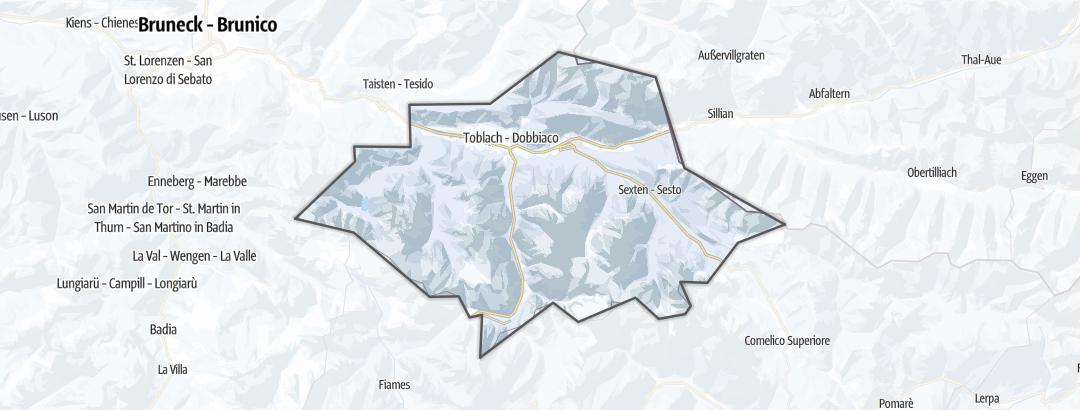 מפה / מסלולי הליכה חורפיים בהוכפוסטרטל בדולמיטים