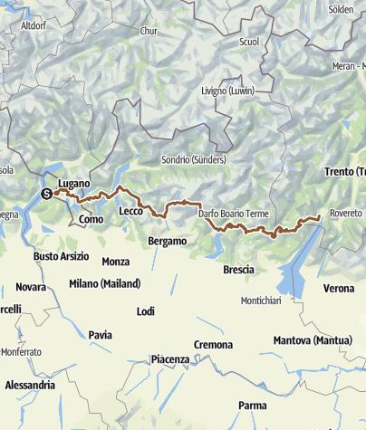Karte / Lago Maggiore zum Gardasee 2013