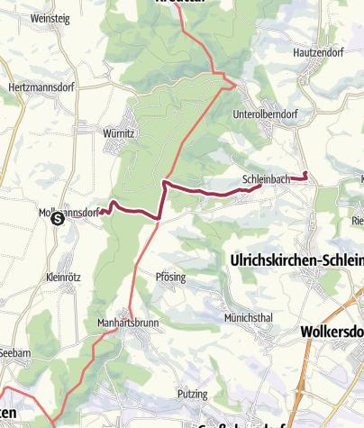 Karte / Landesbunny-Rübensteig von Mollmannsdorf nach Schleinbach