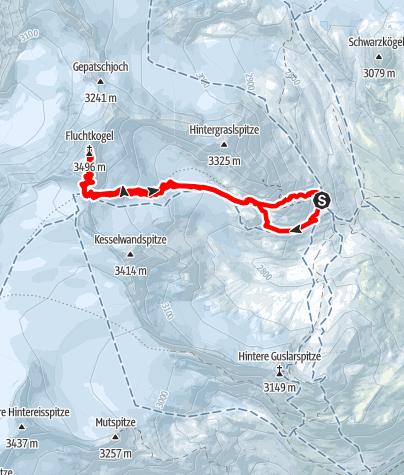 Karte / Vernagthütte - Fluchtkogel 3497m
