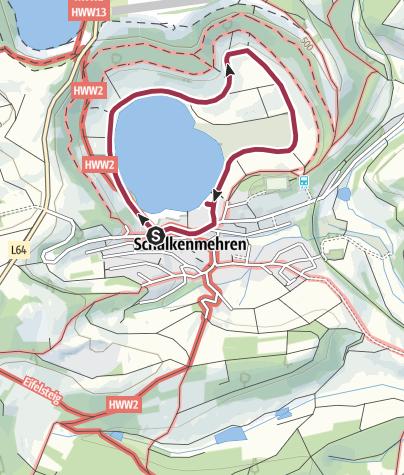 Karte / Spaziergang ums Schalkenmehrener Maar