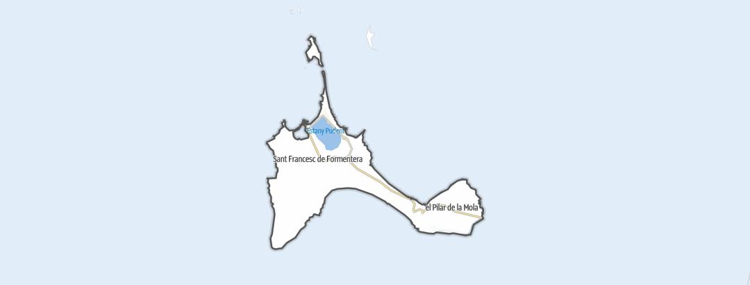 Térkép / Gyalogtúrák,  Formentera területén