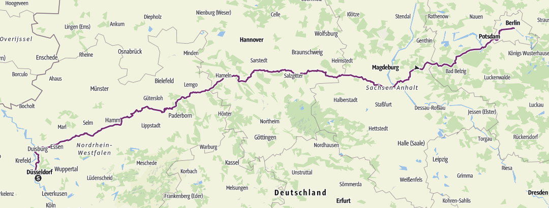 Kartta / Duesseldorf - Berlin (Fernradweg)