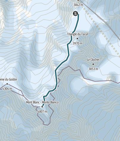 Karte / Mont Blanc Gipfel - Aufstieg vom Refuge des Cosmiques
