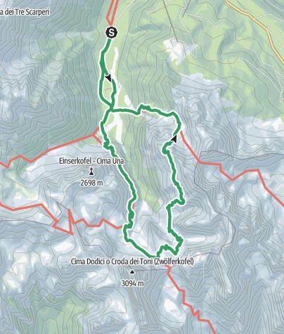 Karte / Der Alpinisteig in den Sextener Dolomiten