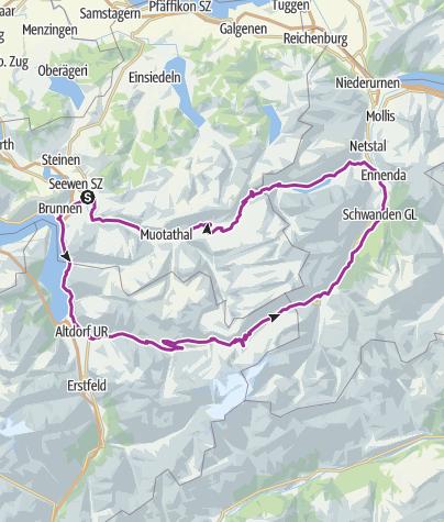 Karte / Klausenpass - Pragelpass ca 2500 hm