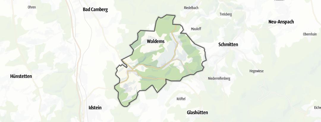 Mapa / Rutas de senderismo en Waldems