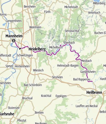 Karte / Von Mannheim nach Badfriedrichshall